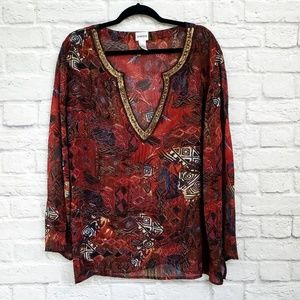 Chico's Red Abstract Print Gold Sequin Neck Blouse